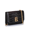 Balenciaga Black Croc Embossed Patent Leather B Bag Wallet On Chain