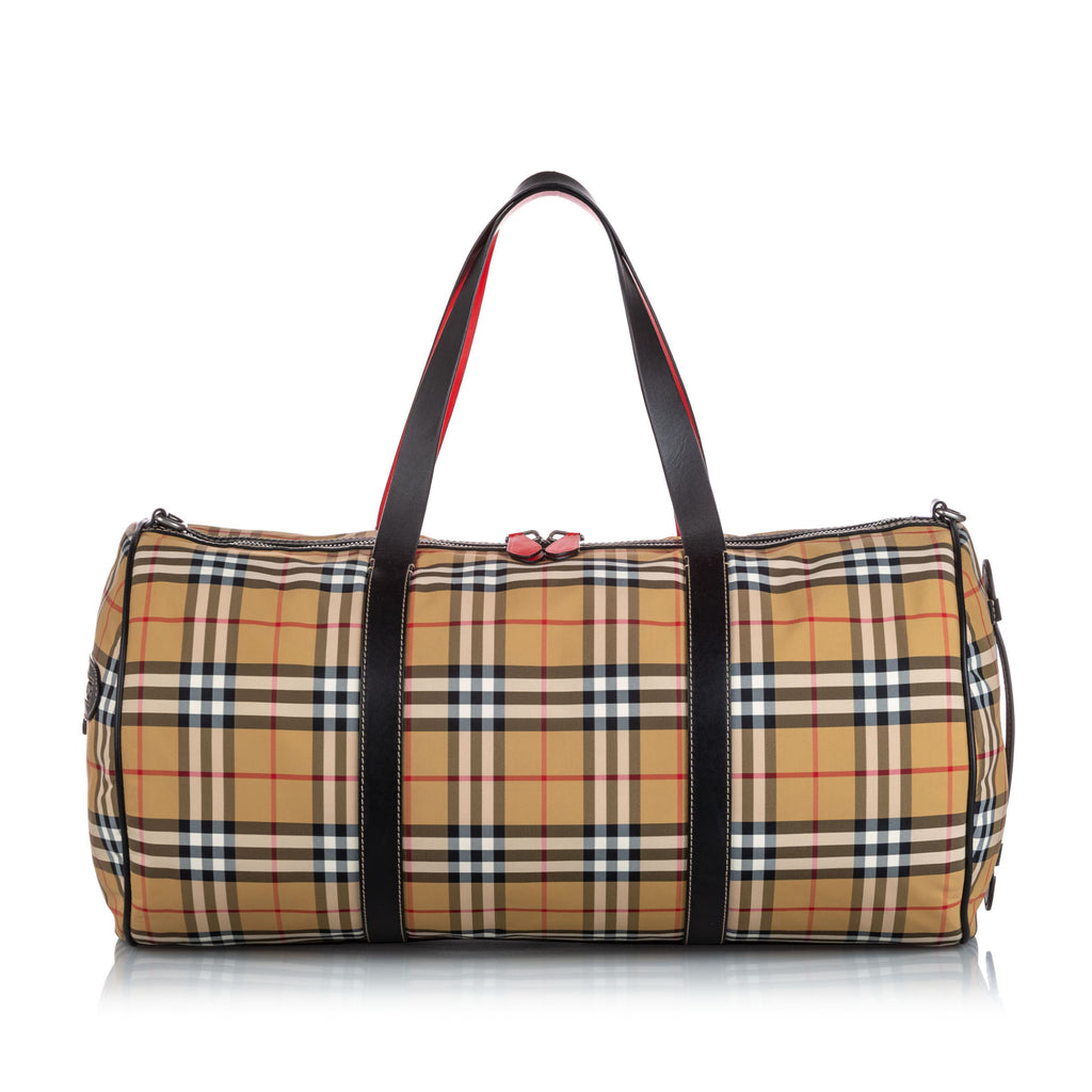 Burberry Dark Brown House Check Canvas Barrel Bag