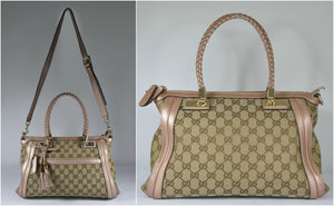 Gucci 282300 Metallic Pebbled Leather & GG Canvas Bella Top Handle Bag