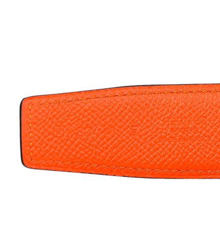 Hermès 32MM Belt Strap Orange / Black / Epsom / Swift - Size 80