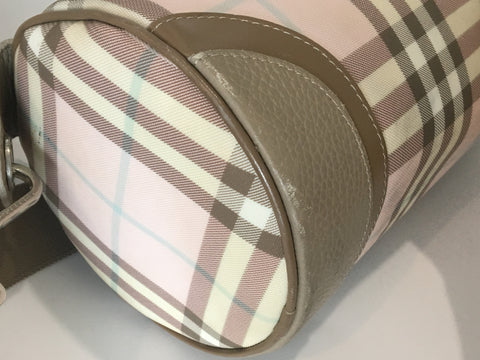 Burberry Checkered Light Pink Roll Bag - Glampot