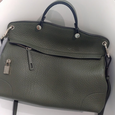 Furla Piper Tote in Dark Green Grained Leather