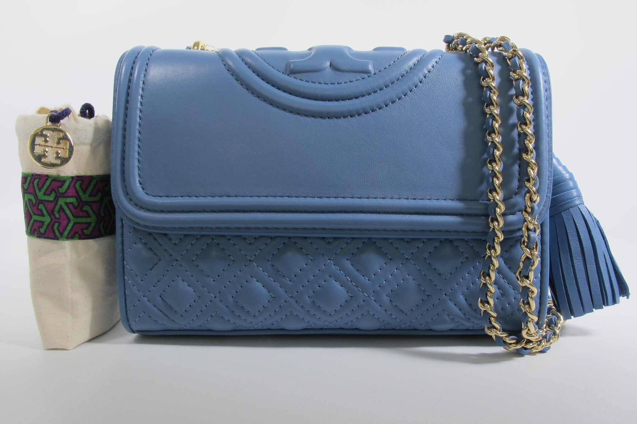 Fleming Small Convertible Shoulder Bag in Blue Lotus