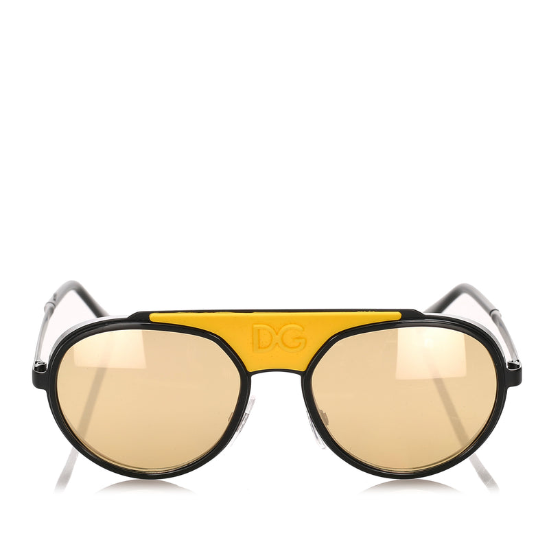 Dolce&Gabbana Round Tinted Sunglasses in Yellow x Black