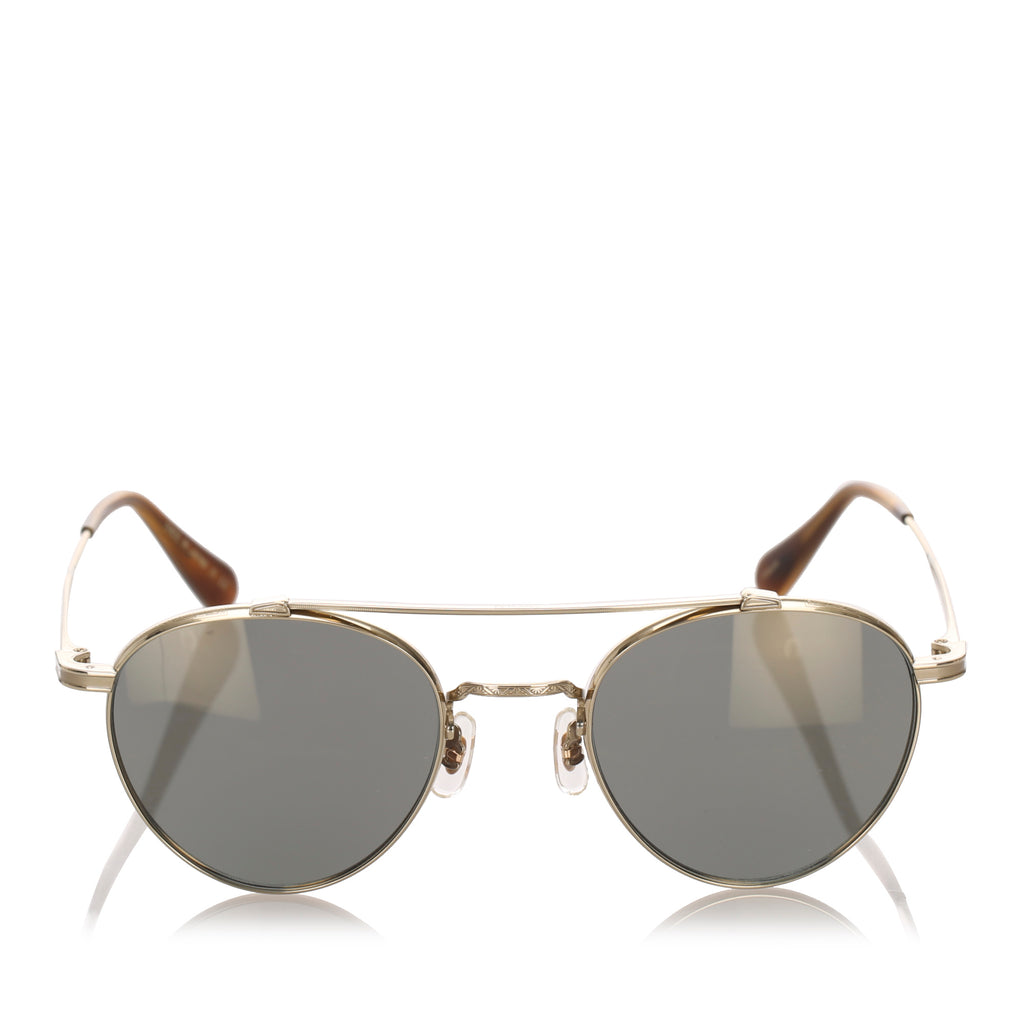 Oliver Peoples Round Tinted Sunglasses in Dark Green x Gold