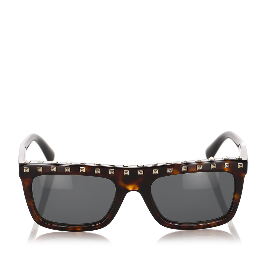 Valentino Rockstud Tinted Sunglasses Brown x Black