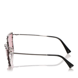 Valentino Crystal Embelished Square Sunglasses in Red