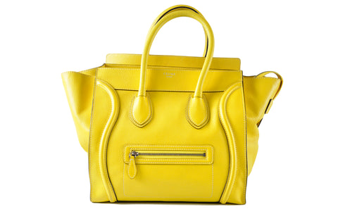 Celine Mini Luggage in Yellow Calf Leather - Glampot