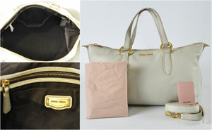 Miu Miu Vit Daino Beige 2-Way Bag