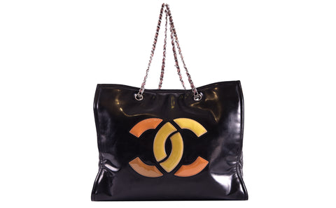 4bdaee1df0eefe Previous. Chanel Lipstick Grand Shopping Black Patent Leather Tote Bag ...