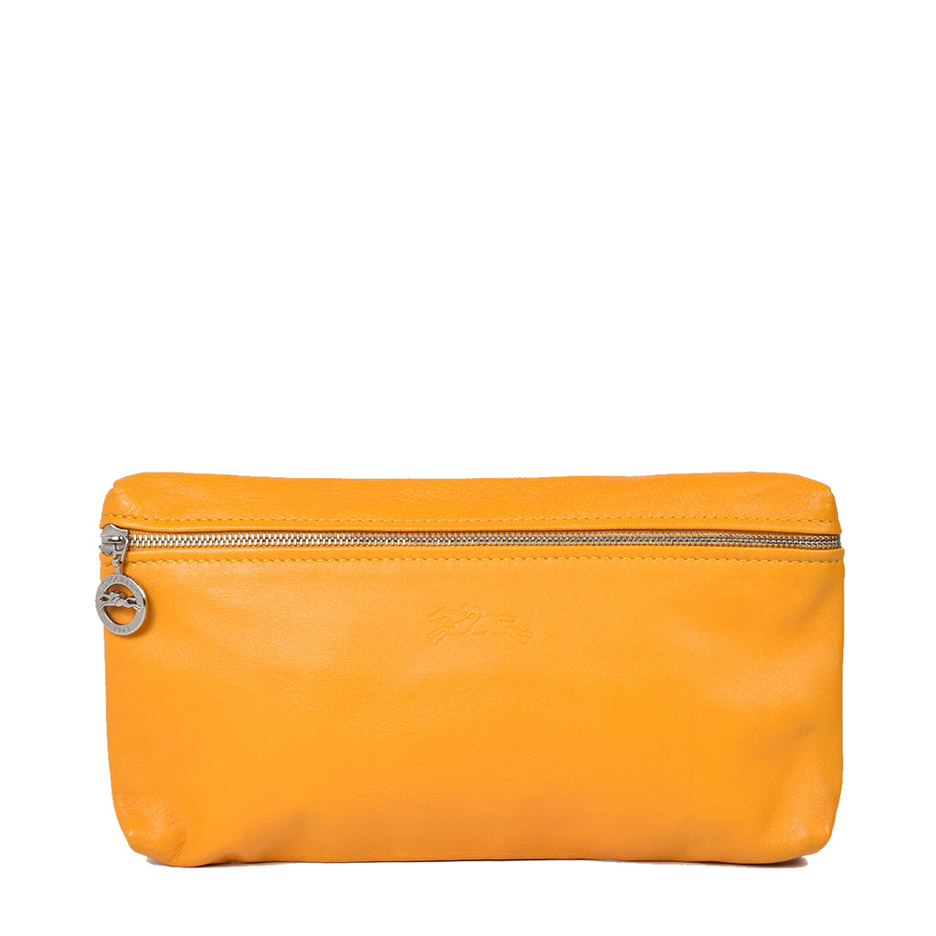 Longchamp Le Pliage Cuir Clutch in Yellow