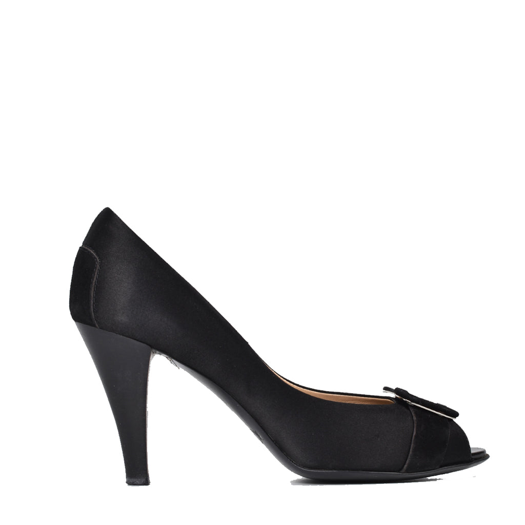 Tod's Black Satin Buckle Peep Toe Pumps
