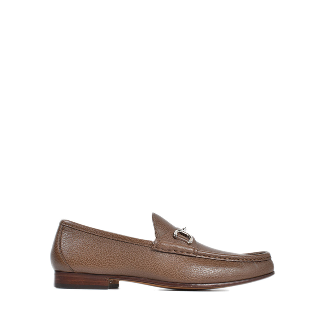 Gucci 1953 Horsebit Brown Grained Pebbled Leather Loafer