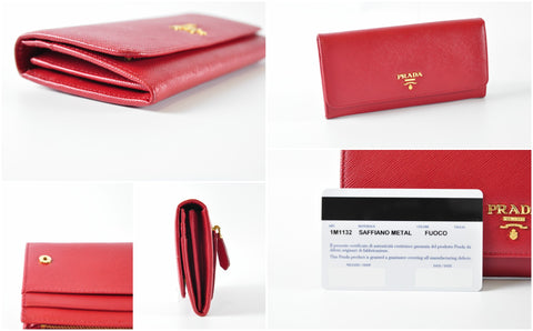 Prada 1M1132 Saffiano Leather Long Fold Wallet in Fuoco