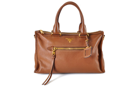 Brown Zip Duffel with Gold Hardware - Glampot