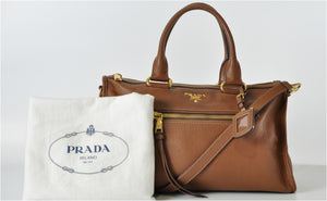 Brown Zip Duffel with Gold Hardware