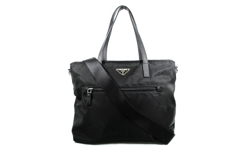 BR4842 Vela Black Nylon Tote Bag with Strap - Glampot