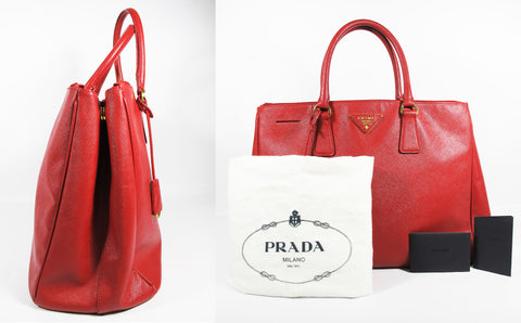 BN1802 Red Saffiano Lux Leather Double Zip Executive Tote Bag - Glampot