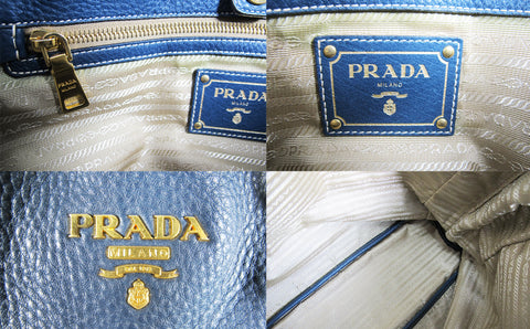Prada BR4372 Blue Leather Tote Bag