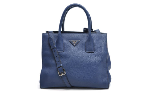 BN2693 Inchiostro Vitello Daino Leather Shopping Tote Bag - Glampot