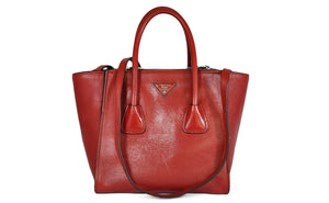 BN2625 Fuoco Glace Calf Leather Twin Pocket Double Handle Tote Bag