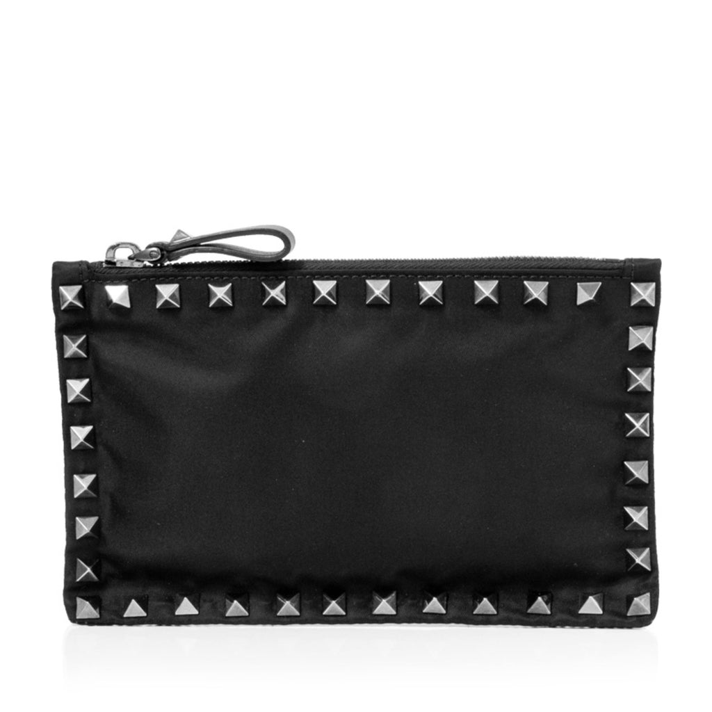 Valentino Rockstud Nylon Clutch Bag in Black
