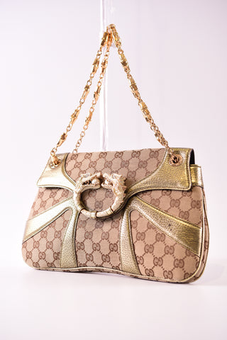 3b65951b91a Gucci Limited Edition Gold GG Canvas Tom Ford Dragon Shoulder Bag ...