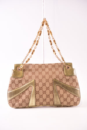 Gucci Limited Edition Gold GG Canvas Tom Ford Dragon Shoulder Bag