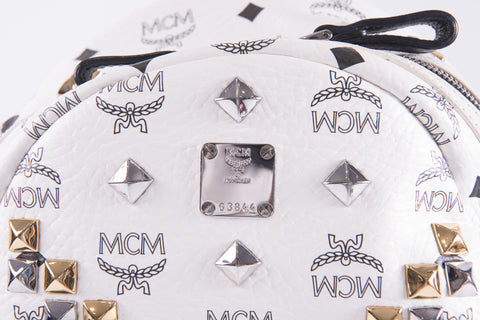 MCM Small White/Black Backpack with Embellishments