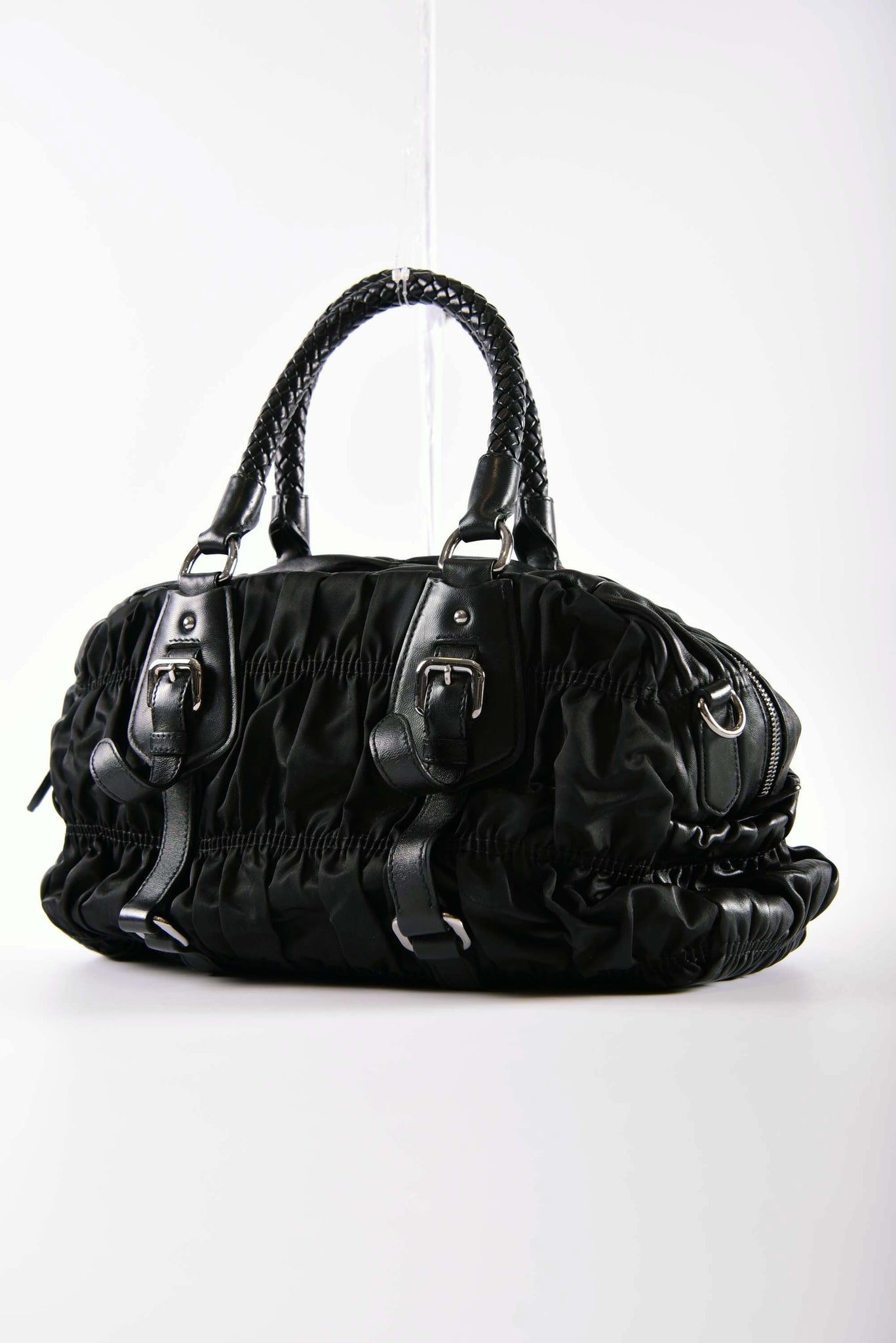 cd332b2c35ae4c ... canada prada bl0397 tessuto gaufre nero braided top handle bag 2b355  5ab5d