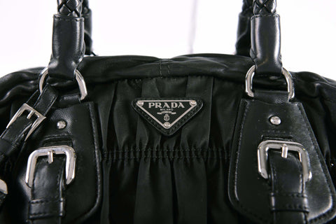 Prada BL0397 Tessuto Gaufre Nero Braided Top Handle Bag