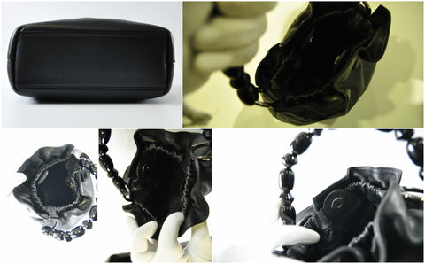 Dior Black Lambskin Evening Bag With Resin Handle