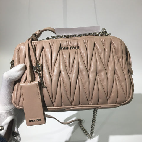 Miu Miu Matelasse Nappa Leather Shoulder Bag 5BH029 Cammeo SHW