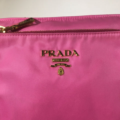 Prada Pink Tessuto Nylon and Leather Bandoliera Messenger Bag BT0693