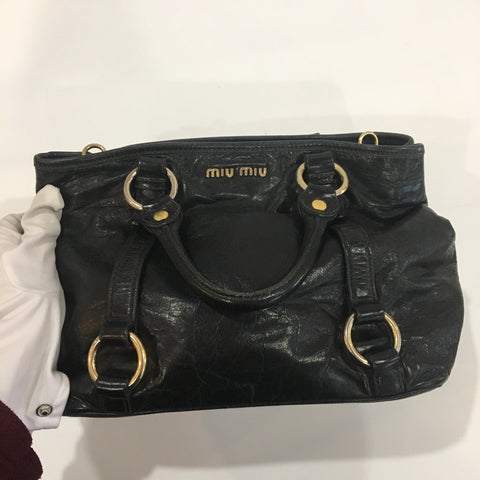 MIU MIU RN1037 VITELLO SHINE SHOPPING BAG IN POMICE