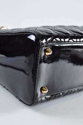 Christian Dior Large Lady Dior Patent Leather Black GHW - Glampot