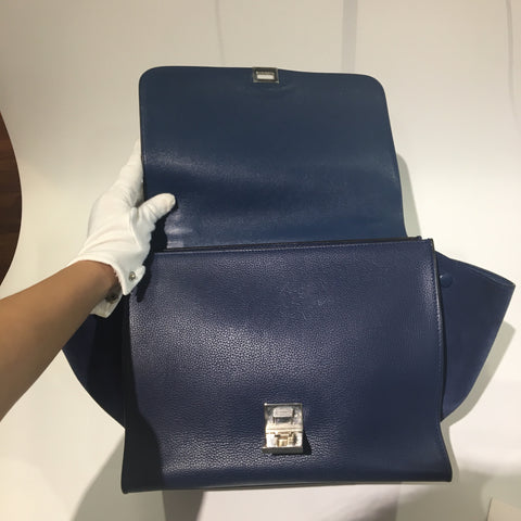 Céline Trapeze Navy Blue Grained Leather / Suede - Glampot