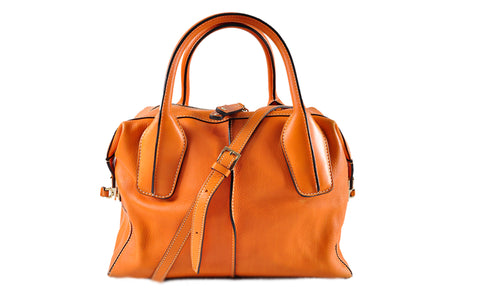 81ee26fd218 Tod s Orange Leather D-Styling Bauletto Piccolo Tote Bag – Glampot