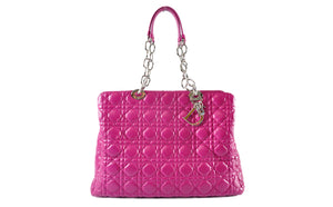 Christian Dior Purple SHW Cannage Lambskin Shopping Tote Bag - Glampot