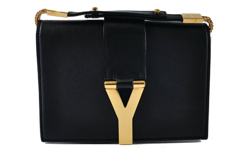 Saint Laurent Classic Y Small Leather Wallet Crossbody in Black