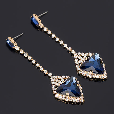 Luxury quality multicolour crystal gem austrianbling ladies formal dress earrings - pickNcarry