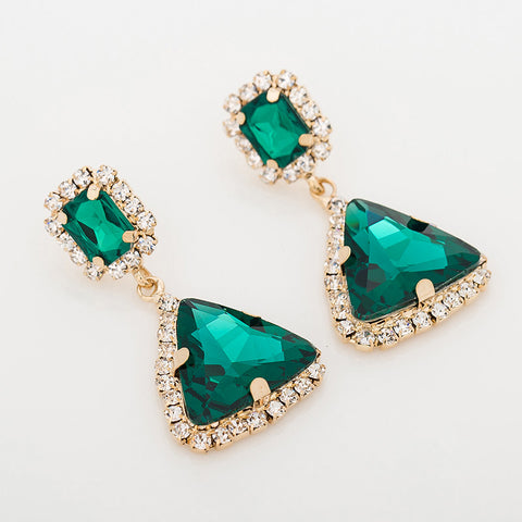 Fashion popular jewelry green crystal gems sexy fashion drop earrings for women - pickNcarry