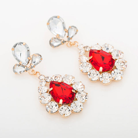 Arrival Flower drop red blue green color crystal earrings - pickNcarry