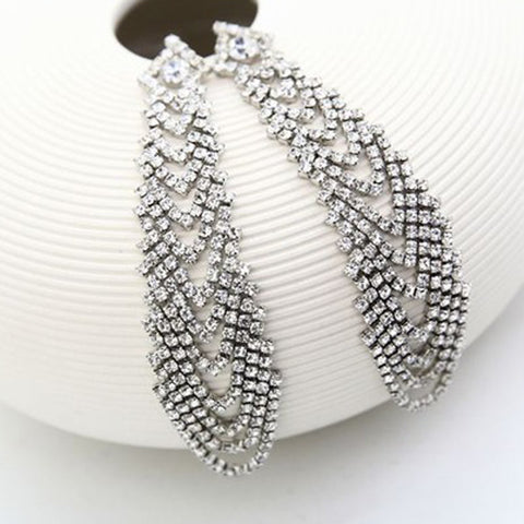 Euramerican popularity shining with rhinestone super-long bride earrings - pickNcarry