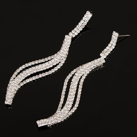 New Style Crystal Long Drop Earrings for Women Bridal Wedding Party - pickNcarry