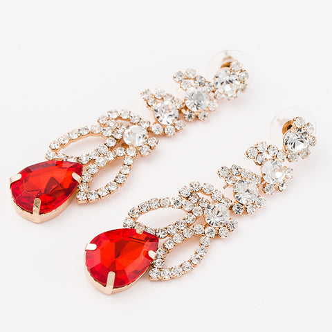 4 Color Gold Color lQueen gem luxury rhinestone women drop earrings - pickNcarry