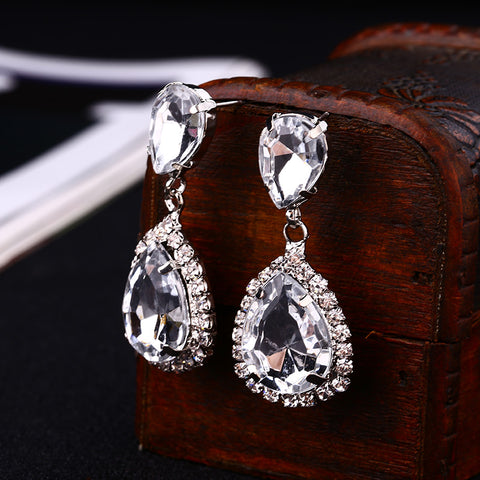 Bride earrings cosmetic geo zhaohao popular rhinestone crystal drop earring wedding dress baldpates - pickNcarry