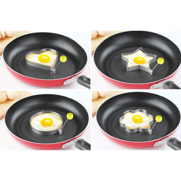 4pcs/lot stainless steel omelette moulds for surprise treats.Circle ,Star ,Heart and Flower Shapes