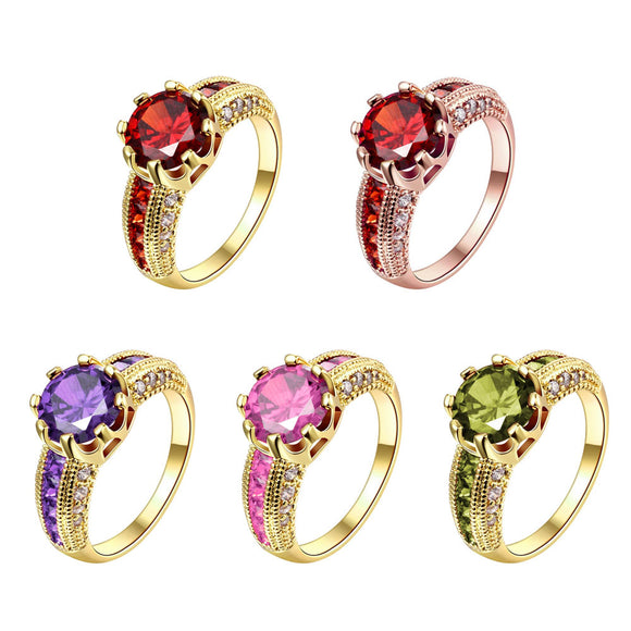 Engagement Rings Cubic Zirconia Rings Luxurious Red Jewelry Wedding Ring Gold Color Women Ring For Party  (JewelOra RI101653)