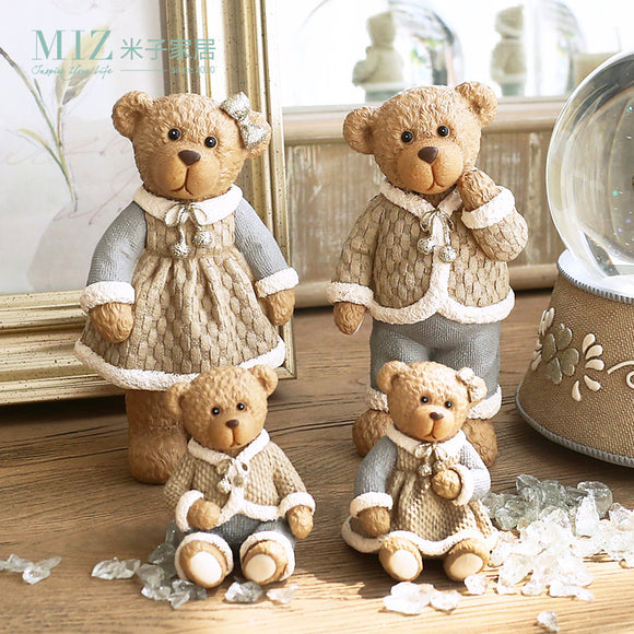 Cute Bear Family Resin Crafts